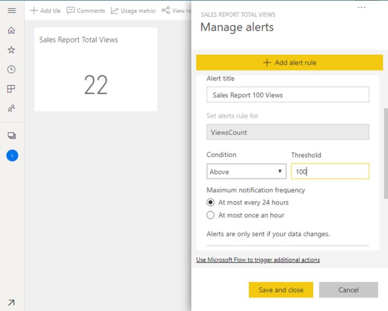 Dashboard Alerts on Power BI Usage Metrics