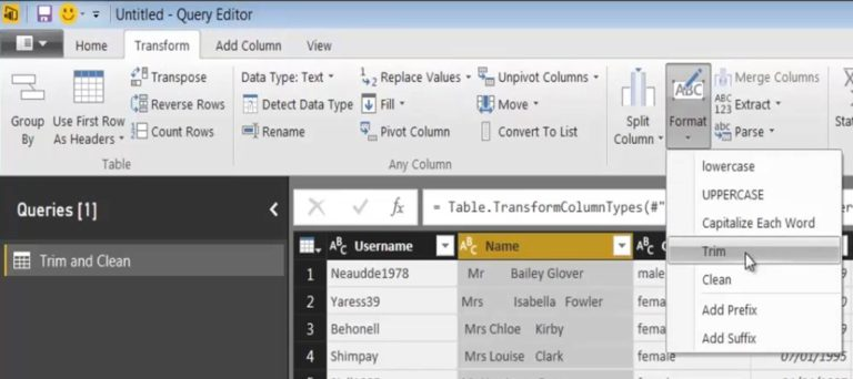 Power Query Trim and Clean Functions